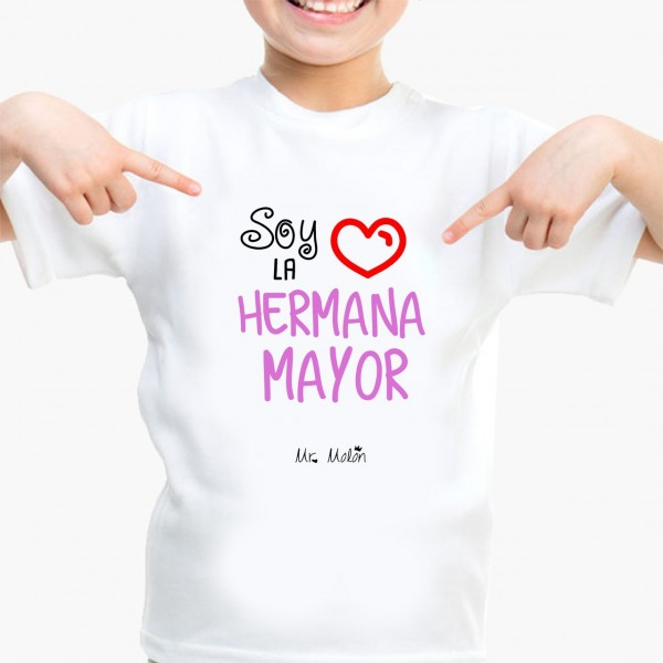 Regalos Originales Hermana Mayor.Camiseta Nina Soy La Hermana Mayor